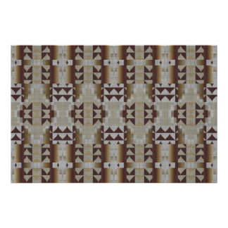 Beige Khaki Coffee Brown Ethnic Tribal Mosaic Poster