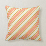 [ Thumbnail: Beige, Light Salmon & Goldenrod Colored Stripes Throw Pillow ]