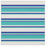 [ Thumbnail: Beige, Light Sea Green & Blue Colored Stripes Fabric ]
