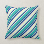 [ Thumbnail: Beige, Light Sea Green & Blue Colored Stripes Throw Pillow ]