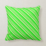 [ Thumbnail: Beige & Lime Stripes Pattern Throw Pillow ]