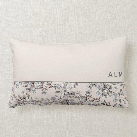 Beige Linen & Gray Floral | Monogram Lumbar Pillow