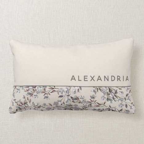 Beige Linen & Gray Floral | Personalized Name Lumbar Pillow