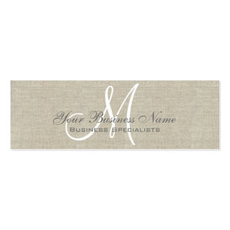Beige Linen Gray Simple Plain Monogram Double-Sided Mini Business Cards (Pack Of 20)