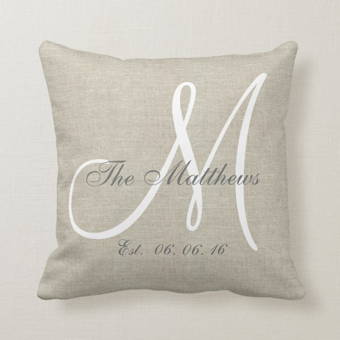 White Linen Throw Pillow : Beige Linen Gray White Monogram Family Keepsake Throw Pillow Zazzle