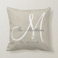 Beige Linen Gray White Monogram Family Keepsake Throw Pillow
