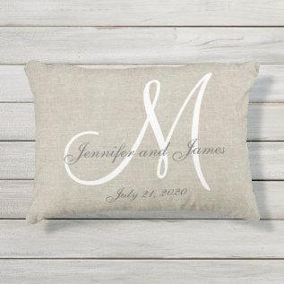 Beige Linen Gray White Monogram Wedding Keepsake Outdoor Pillow at Zazzle