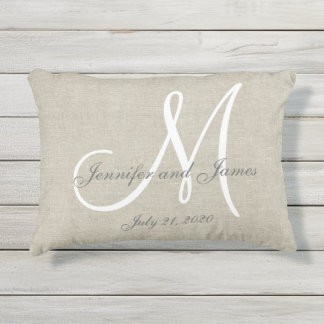 Beige Linen Gray White Monogram Wedding Keepsake Outdoor Pillow