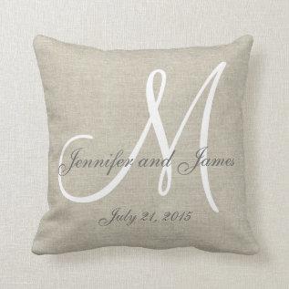 Beige Linen Gray White Monogram Wedding Keepsake Throw Pillow at Zazzle