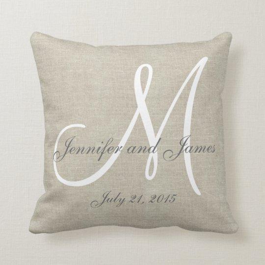 Linen Monogram Throw Pillow: Burgundy Pillows - Decorative & Throw Pillows