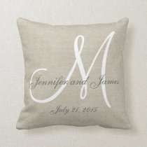 Beige Linen Gray White Monogram Wedding Keepsake Throw Pillow