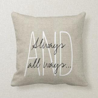 Beige Linen Gray White Wedding Keepsake Throw Pillow