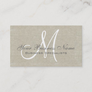 Grey business cards templates zazzle beige linen grey simple plain monogram business card colourmoves