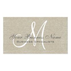 Beige Linen Grey Simple Plain Monogram Business Cards
