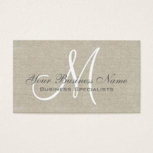 Monogram business cards 15700 monogram business card templates beige linen grey simple plain monogram business card colourmoves