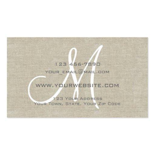 Beige Linen Grey Simple Plain Monogram Business Cards (back side)