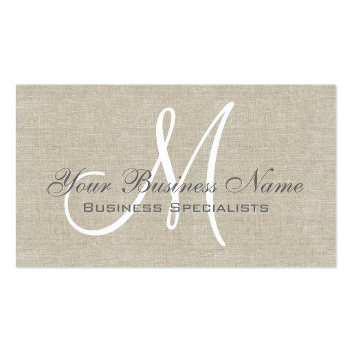 Beige Linen Grey Simple Plain Monogram Business Cards (front side)