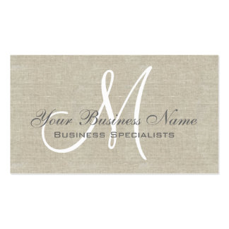 Beige Linen Grey Simple Plain Monogram Double-Sided Standard Business Cards (Pack Of 100)