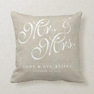 Beige Linen Initials Mr. and Mrs. Wedding Pillow