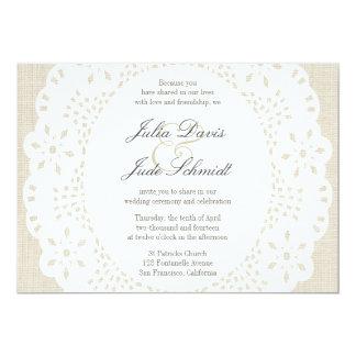 Beige Linen & Lace Doilie : Invitation