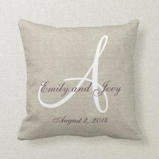 Beige Linen Purple White Monogram Wedding Keepsake Throw Pillow