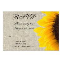 Beige Linen Sunflower Rustic Wedding RSVP 3.5&quot; X 5&quot; Invitation Card (<em>$2.50</em>)