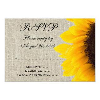 "Beige Linen Sunflower Rustic Wedding RSVP 3.5"" X 5"" Invitation Card"