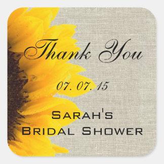 Beige Linen Sunflower Thank You Bridal Shower Square Sticker