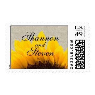 Beige Linen Sunflower Wedding Postage