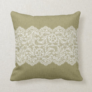 Beige Linen & Vintage White Lace Throw Pillow