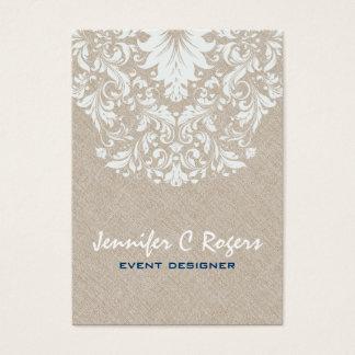 Beige Linen White Floral Lace Event Designer Business Card
