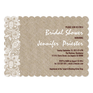 Beige Linen & White Floral Lace Invitation 2