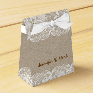 Beige Linen & White Lace Bridal Gift Box