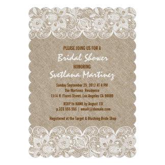 Beige Linen & White Lace Bridal Shower Invite
