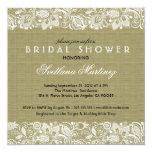 Beige Linen & White Lace Bridal Shower Invite Custom Invite