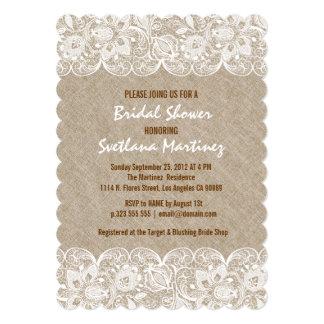 """Beige Linen & White Lace Bridal Shower Invite 5"""" X 7"""" Invitation Card"""