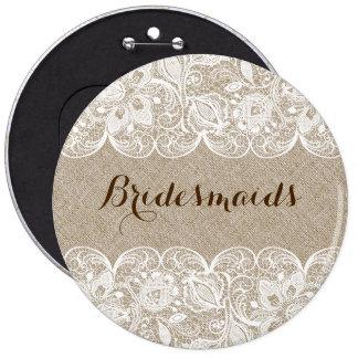 Beige Linen & White Lace Bridesmaids Button