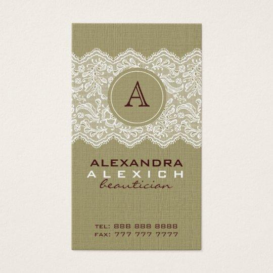 Beige Linen & White Vintage Linen & Lace Business Card