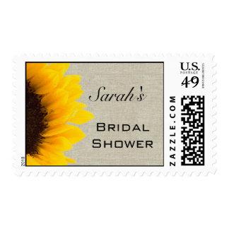 Beige Linen Yellow Sunflower Bridal Shower Postage Stamp