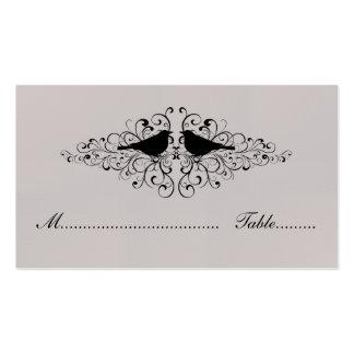 Beige Love Bird Swirls Place Card Business Card Templates