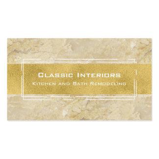 Beige Marble and Gold Modern Sleek Stylish Business Card
