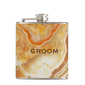 Beige Marble Stone Print Hip Flask