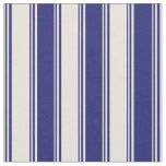 [ Thumbnail: Beige & Midnight Blue Colored Striped Pattern Fabric ]