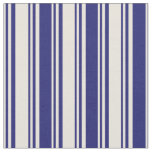 [ Thumbnail: Beige & Midnight Blue Colored Stripes Fabric ]