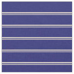 [ Thumbnail: Beige & Midnight Blue Lines Fabric ]