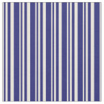 [ Thumbnail: Beige & Midnight Blue Lines/Stripes Pattern Fabric ]