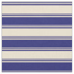[ Thumbnail: Beige & Midnight Blue Pattern Fabric ]