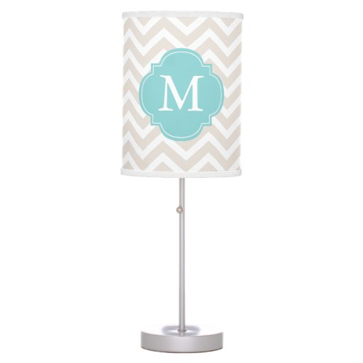 Beige & Mint Zigzags Pattern Monogrammed Desk Lamp