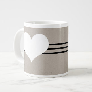 Beige Modern Heart Jumbo Mug