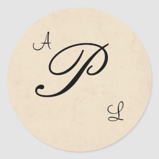 Beige Monogram Wedding Sticker